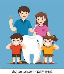 Smiling Kids with parents standing next to big white tooth. They are holding toothbrush showing healthy clean tooth. Hygiene and care.
