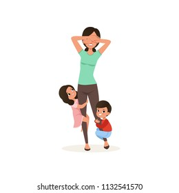 Smiling kids want to play with their tired mother, parenting stress concept, relationship between children and parents vector Illustration on a white background