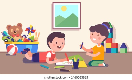 Smiling kindergarten girl & boy kids lying & sitting on floor & drawing doodles together with leisure. Children daycare cartoon characters drawing picture with color pencils. Flat vector illustration