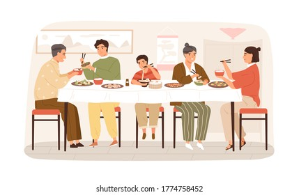 Smiling Korean family eating national food sitting at table vector flat illustration. Happy people at festive dinner isolated on white. Children, parents and grandparents spending time together