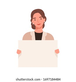 Smiling lady carrying a blank placard with a place for text isolated on white background. Female activist, woman holding an empty paper sheet. Vector illustration in flat cartoon style