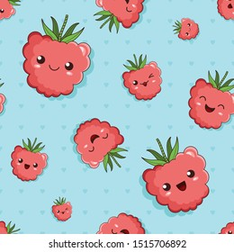 smiling and laughing cute kawaii cartoon berries of raspberry with the different facial expressions. The small and big emoji raspberries, seamless background with the fruits and the hearts