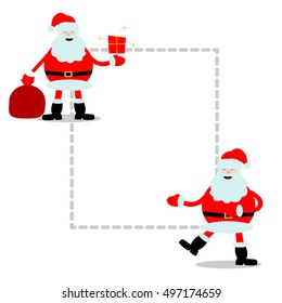 Smiling laughing fat Santa Claus with gift, bag, sack. Happy new year frame, old man character flat vector illustration isolated on white background, card
