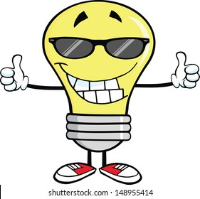 Smiling Light Bulb With Sunglasses Giving A Double Thumbs Up