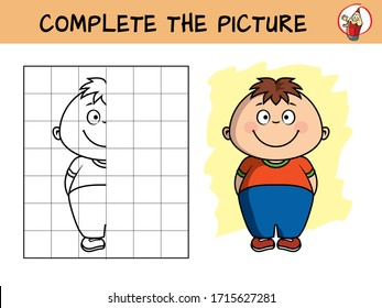 Smiling little boy. Copy the picture. Coloring book. Educational game for children. Cartoon vector illustration