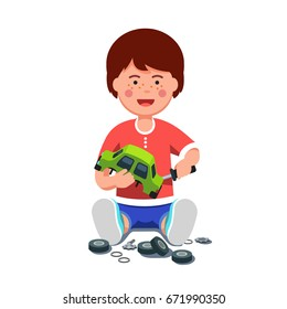 Smiling little boy mechanic repairing assembling or disassembling wind up broken toy car using screwdriver. School kid sitting learning auto mechanism. Flat style vector illustration isolated on white