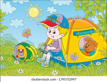 Smiling little boy scout and his funny small pup resting in a color camping tent on a green glade of a forest on a sunny summer day, vector cartoon illustration