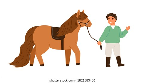 Smiling little boy walking with pony holding bridle vector flat illustration. Happy male child spending time with cute horse isolated on white. Kid going with farm animal enjoying equestrian hobby