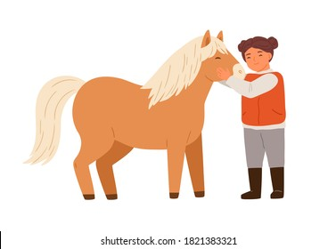 Smiling little girl hugging pony feeling love vector flat illustration. Happy child embracing and taking care to adorable horse isolated on white. Cute female kid spending time with farm animal