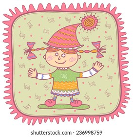 Smiling little girl in a pink cap opened her hands to hug. Light green background with the word hug and pink hearts