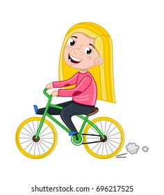 Smiling little girl riding on bicycle. Interesting children life 819d46da48ab