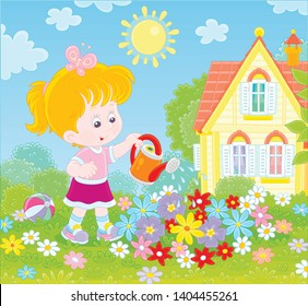 Smiling little girl watering colorful flowers on a flowerbed on a green lawn in front of her house on a sunny summer day, vector illustration in a cartoon style