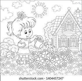 Smiling little girl watering flowers on a flowerbed on a lawn in front of her house on a sunny summer day, black and white vector illustration in a cartoon style