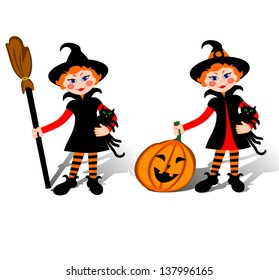 Smiling little witch with black cat on Halloween