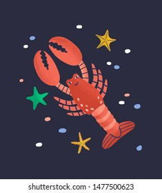Smiling lobster isolated on dark background. Amusing happy marine animal, crustacean, cute funny underwater creature living in sea. Fauna of tropical ocean. Flat cartoon colorful vector illustration.