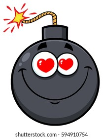 Smiling Love Bomb Face Cartoon Mascot Character With Hearts Eyes. Vector Illustration Isolated On White Background
