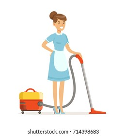 Smiling maid character wearing uniform with vacuum, cleaning service of hotel vector Illustration