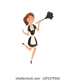 Smiling maid with duster, housemaid character wearing classic uniform with black dress and white apron, cleaning service vector Illustration