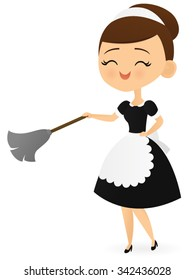 Smiling maid with a feather duster