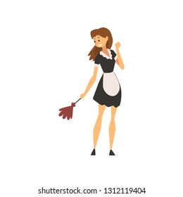 Smiling Maid Standing with Duster, Housemaid Character Wearing Classic Uniform with Black Dress and White Apron Vector Illustration