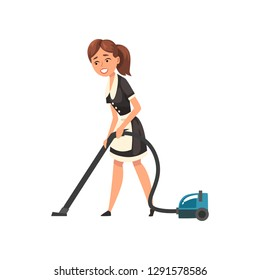 Smiling maid with vacuum cleaner, housemaid character wearing classic uniform with black dress and white apron, cleaning service vector Illustration