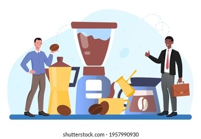 Smiling male character in suit is ordering coffee. Coffee store barista is cooking specialty coffee for businessman customer. Roasting coffee beans. Flat cartoon vector illustration