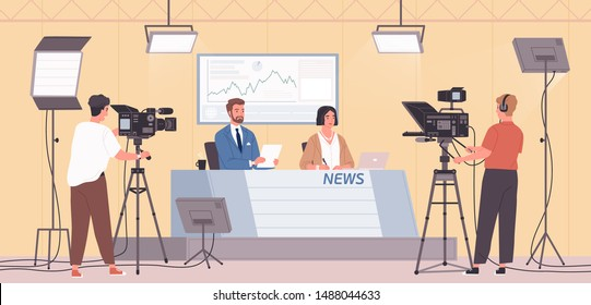 Smiling male and female news presenters or newscasts and cameramen or videographers with cameras at modern TV studio. Live television, real time broadcast. Flat caroon colorful vector illustration.