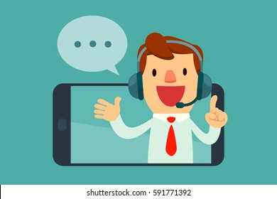 Smiling male operator with headset speaking from  screen of a smart phone. Customer service concept.