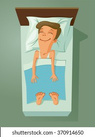 Smiling man asleep in bed, vector illustration