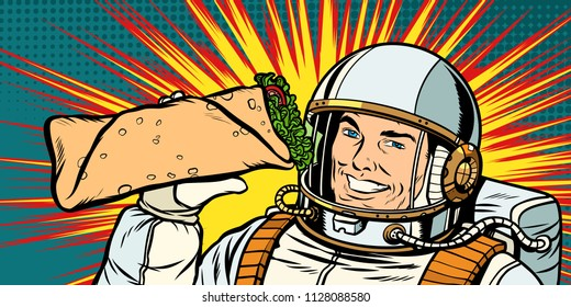 Smiling man astronaut presents Shawarma kebab Doner. Pop art retro vector illustration vintage kitsch drawing