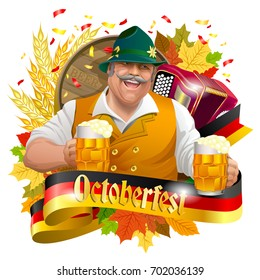 Smiling man with beer mugs, October fest label with ribbon banner, ears of wheat and, accordion colorful autumn leaves. Image isolated on white
