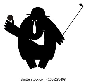 Smiling man in the bowler hat plays golf isolated illustration. Funny man wearing a bowler hat with a golf club and golf ball in the hand black on white illustration