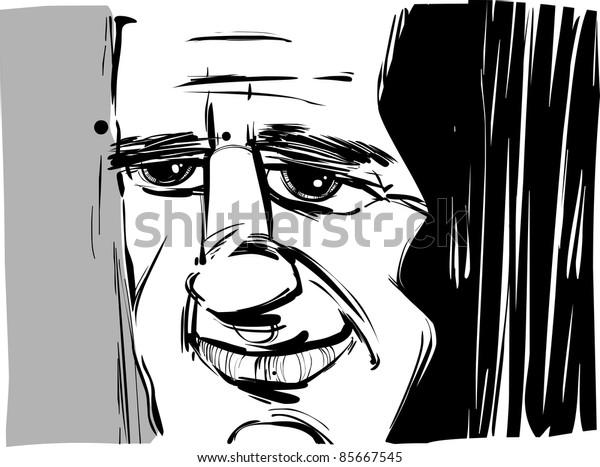 smiling man caricature sketch illustration