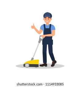 Smiling man cleaning floor with scrubber machine and showing thumb up. Young guy in working uniform. Flat vector design