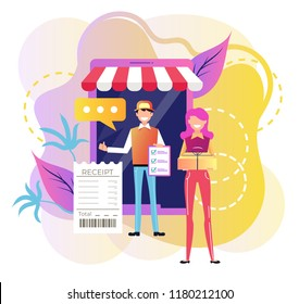 Smiling man courier deliver box parcel to woman consumer character to home. Online shopping e commerce trading by web site market. Fast internet modern delivery technology website app. Vector flat car