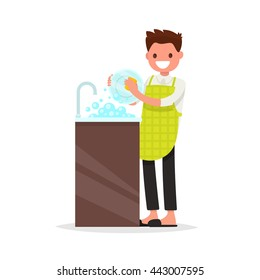 Smiling man dressed an apron is washing dish. Vector illustration of a flat design