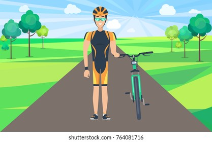 Smiling man dressed in black-and-orange cycling clothing with headgear and glasses standing on road holding his green bicycle vector illustration