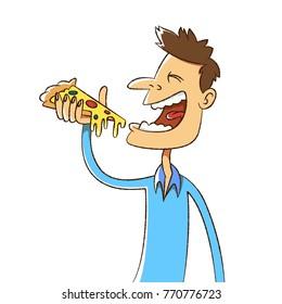 smiling man eating pizza, cartoon illustration