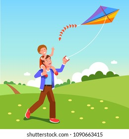 Smiling man gives happy boy son piggyback ride flying kite outdoors. Cheerful father carry laughing son on shoulders & fly kite in countryside. Flat vector isolated cartoon character illustration
