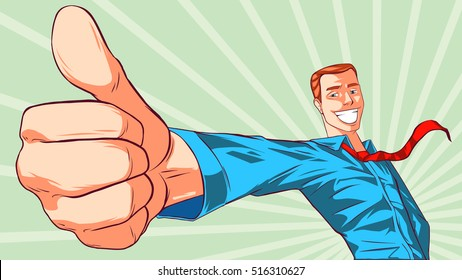 Smiling man giving thumbs up sign
