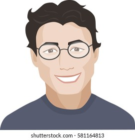 Smiling man with glasses. Vector illustration.