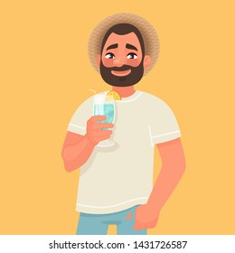 Smiling man with a hat and a cocktail in his hand. The concept of a carefree summer holiday and travel to the southern countries. Tourist. Vector illustration in cartoon style