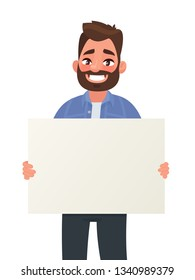 Smiling man is holding a blank poster. Placard for advertising. Vector illustration in cartoon style