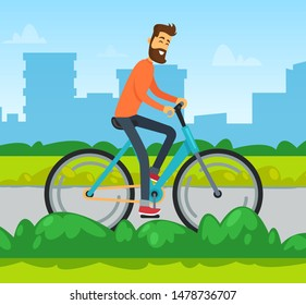 Smiling man on bicycle, skyscraper view, male cycling. Person on urban transport, cycler going by road with green plants, transportation object vector. Cycling in city park