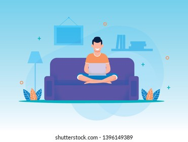 Smiling Man Play Video Game, Type in Social Chat Using Laptop Sitting on Sofa at Living Room. Relax or Working on Comfortable Couch on Evening or Weekend at Home. Flat Vector Cartoon Illustration