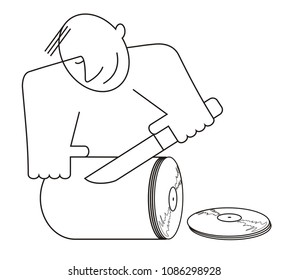 Smiling man reproduces music on vinyl records concept illustration in line style. Smiling man cuts music to vinyl records concept illustration in line style black on white isolated