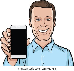 smiling man showing a mobile app on a smart phone