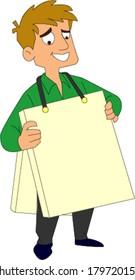 Smiling man wearing blank sandwich board