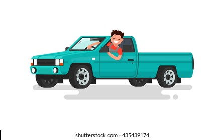Smiling man at the wheel of a pickup truck. Vector illustration of a flat design