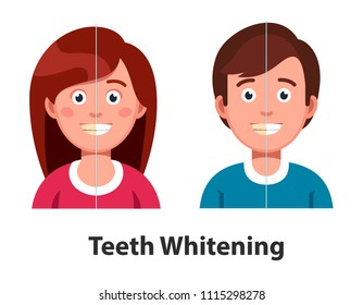 Smiling man and woman before and after teeth whitening. Comparing tooth with plaque and healthy white teeth. Dental hygiene and cosmetic whitening dentistry. Flat vector illustration isolated